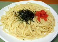 ソースを絡めて残り物の明太子を添えたスパゲティ