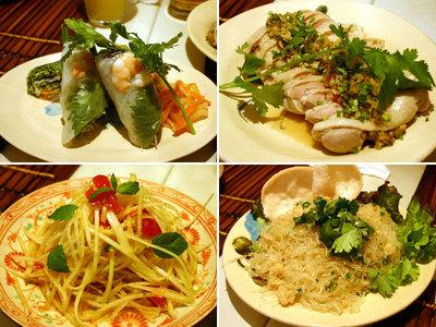 ベトナム料理の生春巻き、蒸し鶏、パパイヤサラダ、蟹と春雨