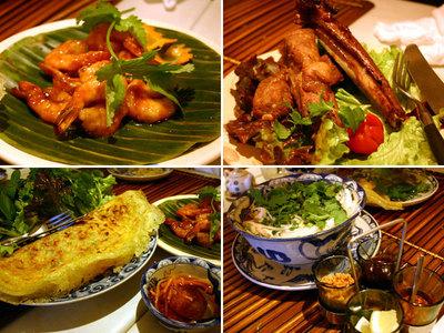 ベトナム料理屋で食べたエビのタマリンド風味、スペアリブ、バインセオ、フォーガー