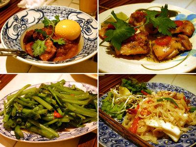 ベトナム風豚の角煮、鶏のバイマックル風味、空芯菜の炒め物、ビーフン炒め