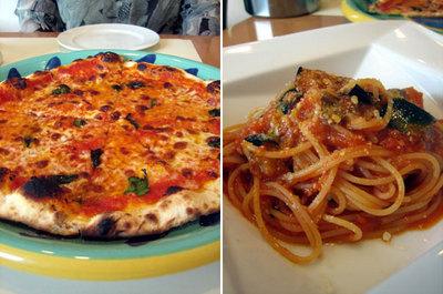 薄くてパリッとしたピザとトマトのスパゲティ